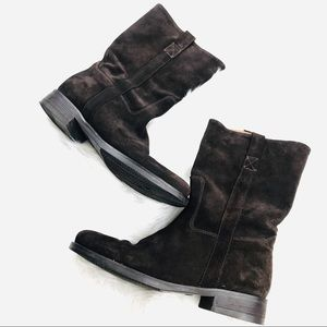 J.Crew Brown Suede Flat Boots Womens Size 8.5